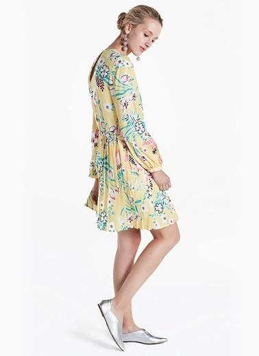Pilisoley Etekli Desenli Elbise-Twist